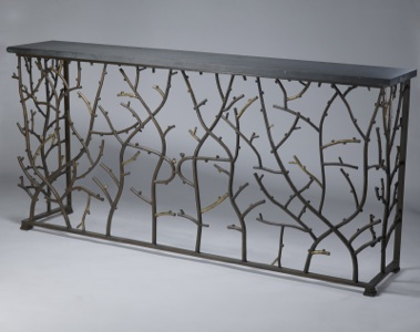 wrought iron 'coral' console in brown bronze, distressed gold leaf highlight finish with marble top (T3538)