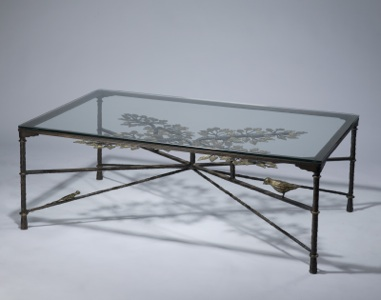 Wrought iron ' tree of life' coffee table in brown bronze, distressed gold leaf highlight finish with glass top (T3539)