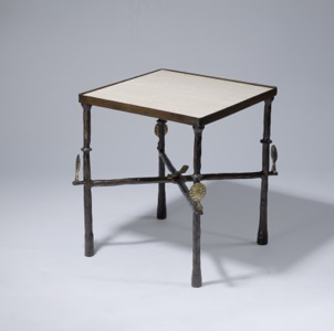 Wrought iron 'simple' Side table in brown bronze, distressed gold leaf highlight finish with marble top (T3542)