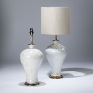 pair of small white pearl glazed ceramic lamps on distressed brass bases (T3624)