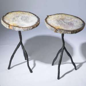 pair of oval brown, amber agate slices on wroght iron textured 'tree' bases (T3673)