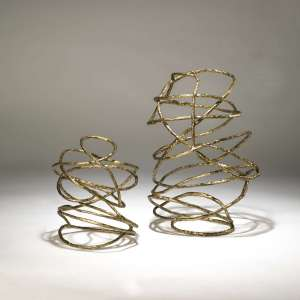 large wrought iron 'swirl' sculpture in distressed gold leaf finish (T3690)
