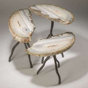 set of 3 Agate side tables on bronze painted 'tree' legs (T3752)