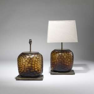 pair of small brown cut glass lamps on distressed brass bases (T3775)
