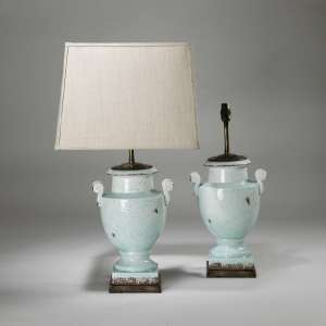 Pair of small blue glazed ceramic urn lamps on brass bases (T3901)