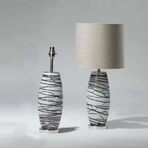 Pair of small white glass with black vein lamps on chrome bases (T3980)