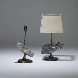 Pair of small blue stone chunk lamps (T4042)
