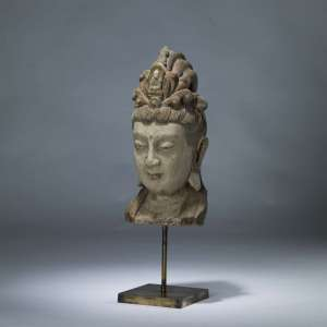 Large wooden buddha head on brass base (T4078)