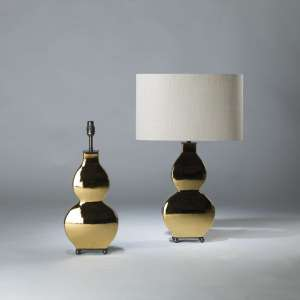 Pair of small gold ceramic 'guitar' lamps on rectangle brass ball bases (T4111)