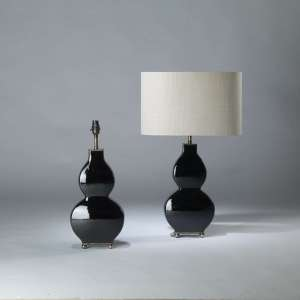 Pair of small black ceramic 'guitar' lamps on rectangle brass ball bases (T4112)