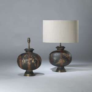 Pair of small brown ceramic rustic lamps on round brass bases (T4116)