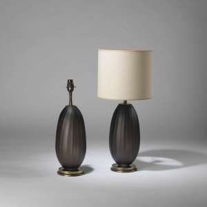 Pair of small grey cut glass lamps on round brass bases (T4205)