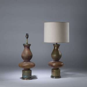 Pair of small purple metallic ceramic 'blob' lamps on round brass bases (T4352)
