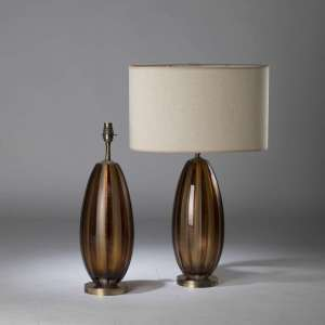 Pair of small purple brown cut glass lamps with matt textured vertical stripes on round brass bases (T4433)