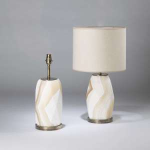 Pair of small geometric Alabaster lamps on round antiqued brass bases (T4472)