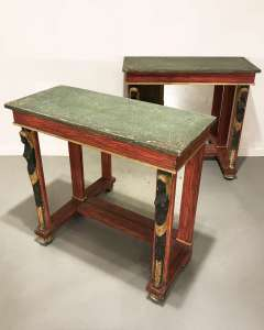 Pair of Italian painted pine console tables circa 1920 (T4500)