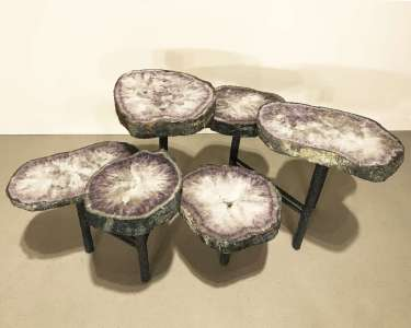 amethyst disc coffee table on textured wrought iron base (T4505)