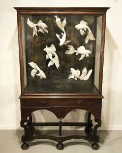 Antique  cabinet with amazing modern ceramic fish (T4506)