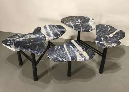 Large sodalite disc coffee table on simple wrought iron base (T4508)