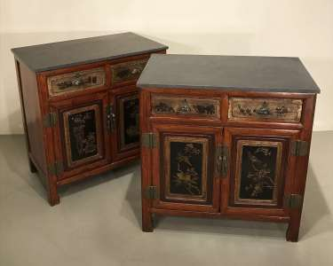 Pair of Chinese cabinets circa 1920 with modern stone tops (T4529)