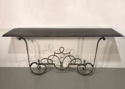 Wrought iron 'dad's' console with stone top in Mouses Back & warm silver finish (T4543)
