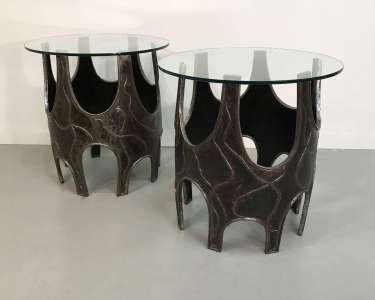 Pair of unique modern wrought iron Brutalist side tables (T4552)