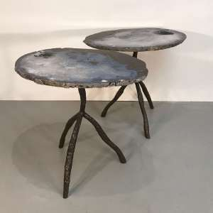 Pair of large agate side tables on wrought iron bases (T4554)