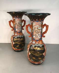 Pair of Japanese ceramic vases circa 1860/80 with lacquered details amazing size & quality (T4562)