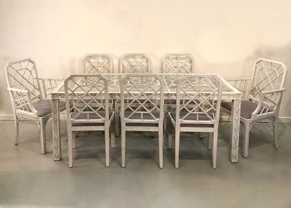 Italian painted dining table and eight chairs circa 1960 (T4638)