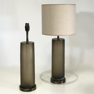 Pair of small cut glass brown/grey 'Laura' cylinder lamps on round antiqued brass bases (T4671)
