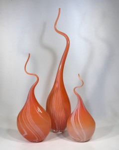 Sunset orange 'squiggle vase' (T4699)