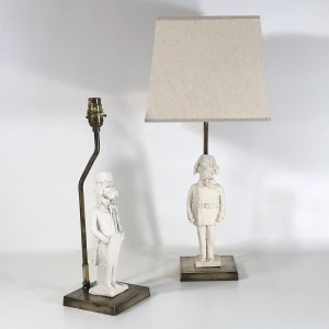 pair of small white ceramic French animal lamps (T4724)