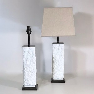 Pair of small mid-century white ceramic west german pottery lamps on brown bronze bases (T4739)