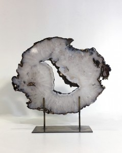 Extra Large Agate Slices On Distressed Bronze Stands (T4760)