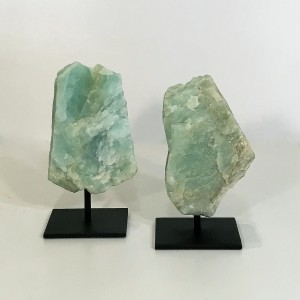 Pieces Of Rough Green Quartz On Metal Stands (T4762)