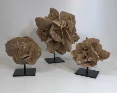 Large Desert Rose Sculptures On Metal Stands (T4773)