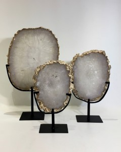 Polished Clear Agate Slices With Raw Edges On Metal Stands (T4776)