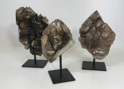 Pieces Of Rare Alligator Quartz With Black Minerals On Iron Stands (T4790)