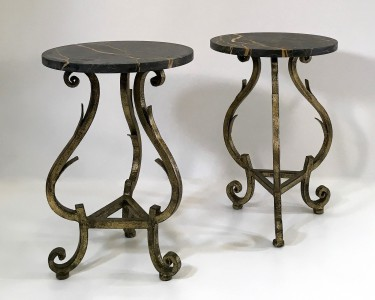 Pair of small 'Gilbert' side tables 1940's style with Michaelangelo marble tops. (T4809)