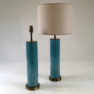 pair of small sky blue bubble 'fizz' glass lamps on round brass bases (T4814)