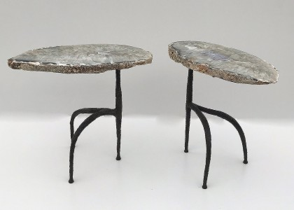 pair of agate wrought iron