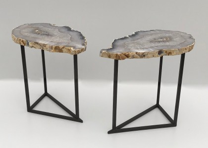 pair of agate and iron side tables (T4831)