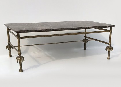 vintage French iron coffee table with marble top (T4834)