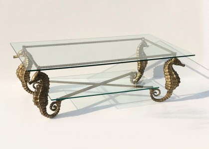 wrought iron seahorse table in distressed gold finish (T4836)