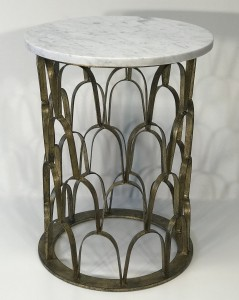 'Fish scale' wrought iron side table in distressed gold leaf finish with white and grey marble top (T5021)