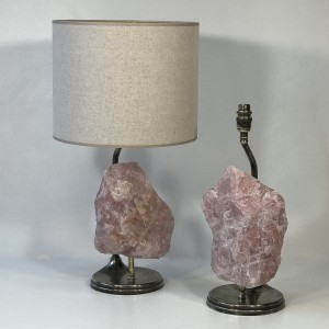 pair of pink quartz and bronze lamps with antique brass finish (T5023)