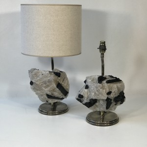 pair of rock crystal with tourmaline and bronze lamps with antique brass finish (T5024)