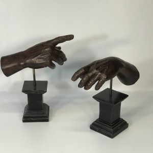 pair of remarkable carved wood italian hands on modern wooden bases (T5030)