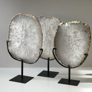 Massive Slices Of Quartz Crystal On Iron Bases (T5032)