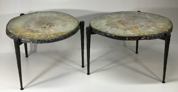 Pair of very large beautiful agate side tables with textured wrought iron bases. (T5040)